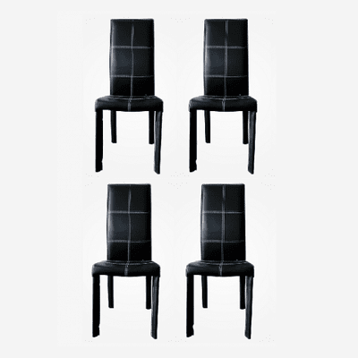 Contemporary Black Leather Dinning Chair - Set of 4