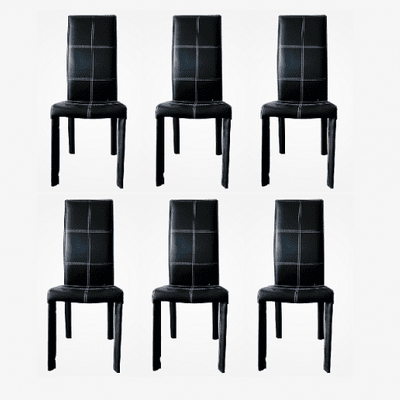 Contemporary Black Leather Dinning Chair - Set of 6