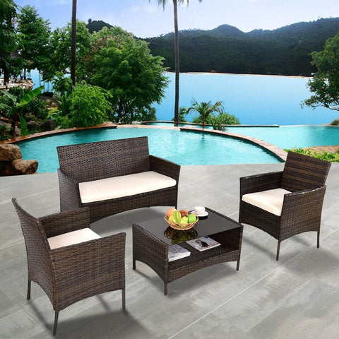 Costway 4 PCS Outdoor Patio Rattan Furniture Set