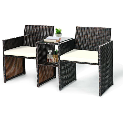 Costway Patio Rattan Loveseat Table Chairs Set