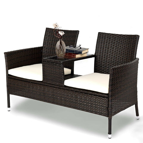 Costway Patio Rattan Sofa Love-seat Table Chairs
