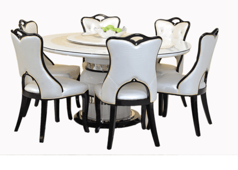CREAM AND SILVER IVORY 4 SEATER ROUND DINING TABLE SET