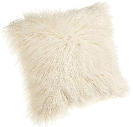 Cream Fur Throw Pillow