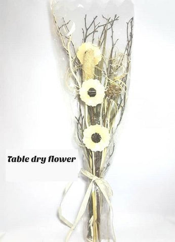 Cream Table Dry Flowers