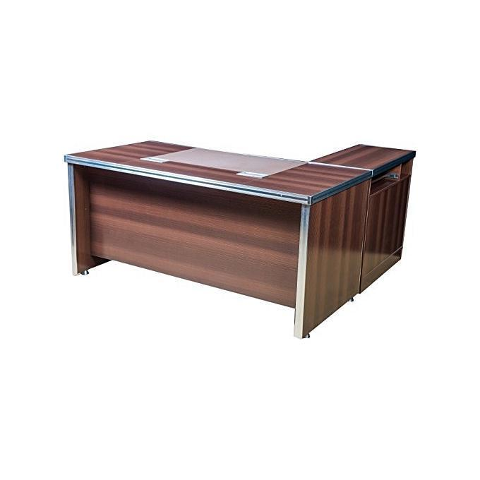 Dark Wood With Iron Steel Edge Band Executive Table-1.6m