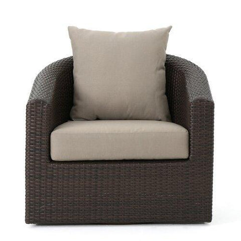 Dierdre Outdoor Wicker Swivel Club Patio Chair with Cushions