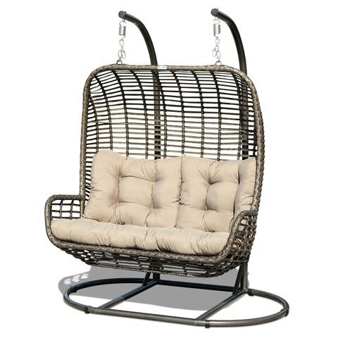 Double Basket Rattan Swing Chair Patio