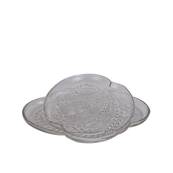 Flat Glass Center Piece With Flowery Pattern