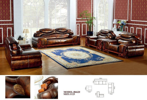 Giovanni Leather Sofa Set-B662