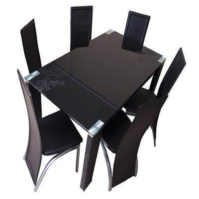 Glass Dining Table Set + 6 Chairs