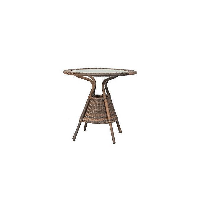 Glass Round Top Rattan Leisure Table
