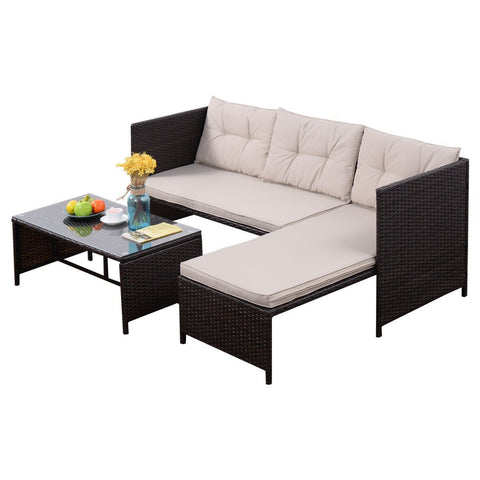 Goplus 3 PCS Rattan Lounge Chaise Cushioned Patio Set