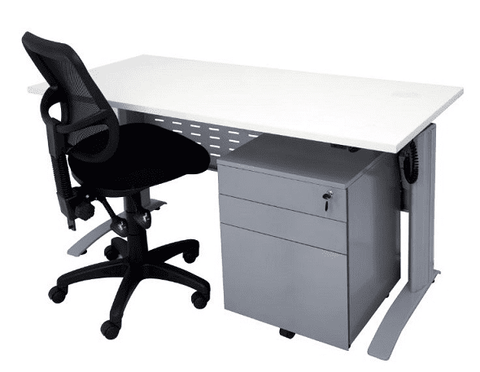 Grey Desk with 3 mobile drawer pedestal-4feet