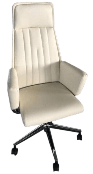 High Back White Leather Executive Swivel Office Chair with Arms-010B
