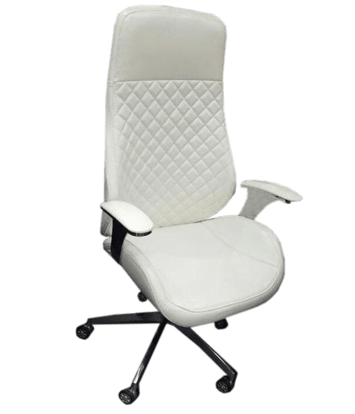 High Back White Leather Executive Swivel Office Chair with Arms