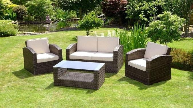 Homall 4 Pieces Outdoor Patio Rattan Chair Wicker Set