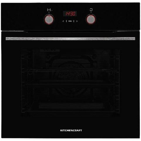 KITCHENCRAFT 60cm Built In Electric Oven Black - Illuminated Knobs -Smart Series - Boi625