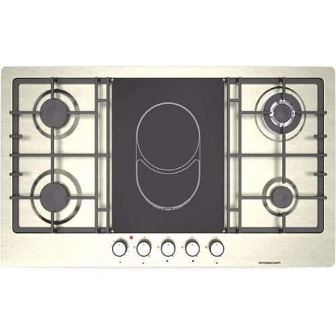 KITCHENCRAFT 90cm 4 Gas + 1 Double Zone Ceramic Built-in Hob-SH 924 EC