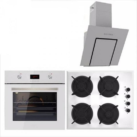 KITCHENCRAFT Bundle - Cooker Hood + Built-in Hob + Built-in Oven - White