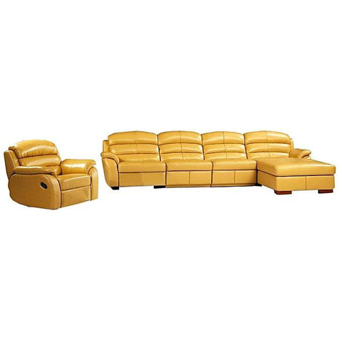 L-Shaped Leather Sofa Home Furniture - Beige