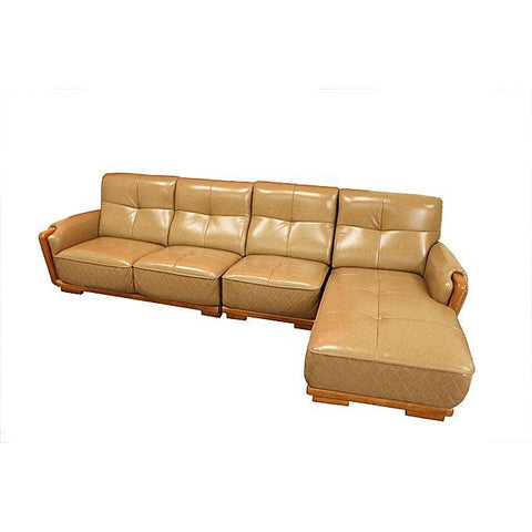 L -Shaped Leather Sofa Home Furniture - Brown