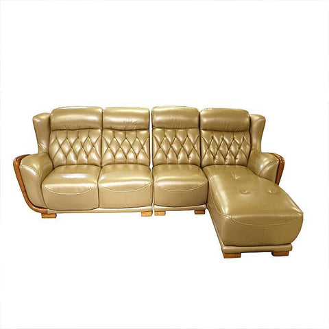 L-Shaped Leather Sofa Home Furniture - Gold