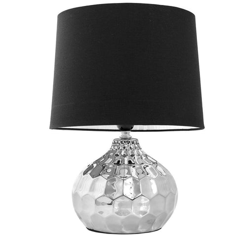 Leonardo Collection Round Silver Base Table Lamp