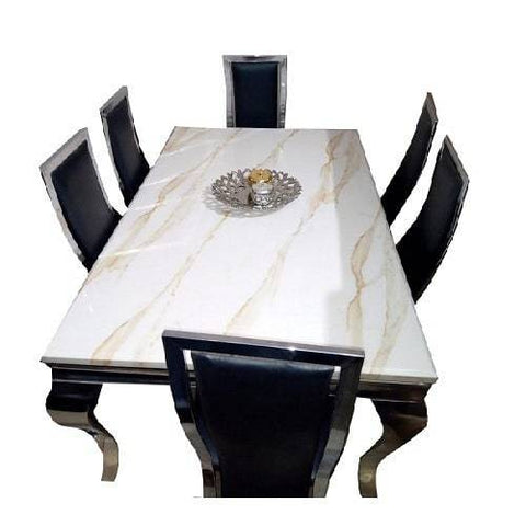 Marble Dining Table + 6 Chairs