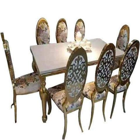 Marble Top 8 Seater Dining Set( Gold)