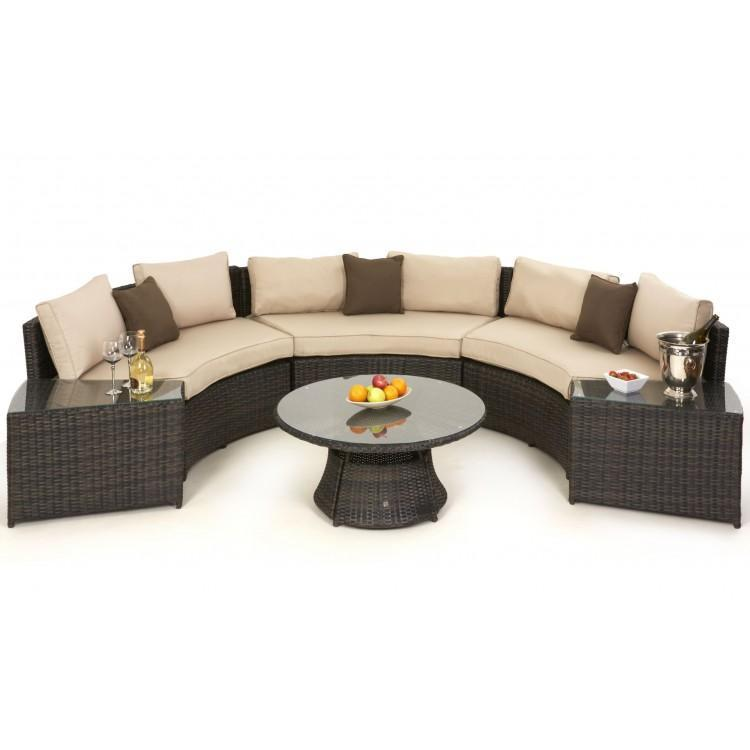 Maze Rattan Garden Furniture Brown Half Moon Sofa Set