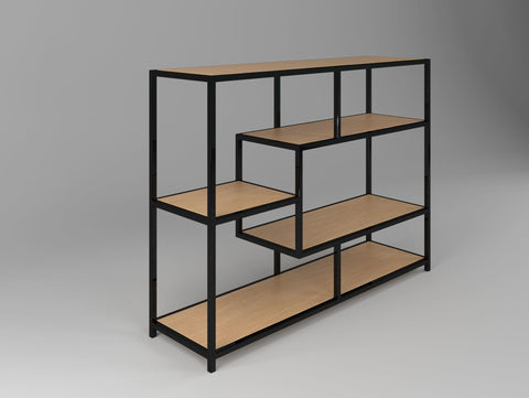 Metal Frame with Wooden Shelves