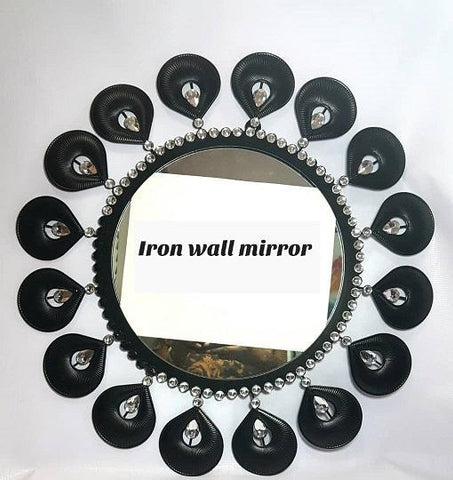 Metal Pearl Shaped with Stones wall Mirror