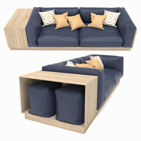 Modular Sofa with Square Pouffe