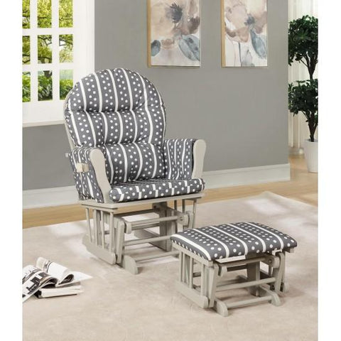 Naomi Home Brisbane Glider and Ottoman Set, Gray Stripe Polka