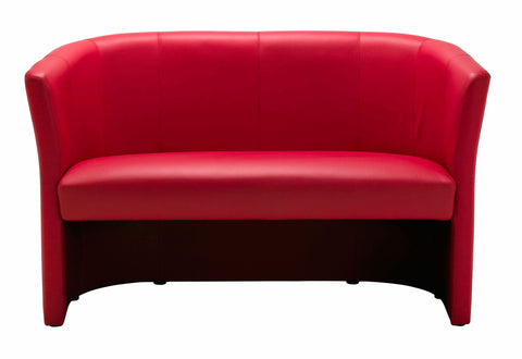 Nero Red PU Leather Tub Sofa 2 Seater Reception Seat-H