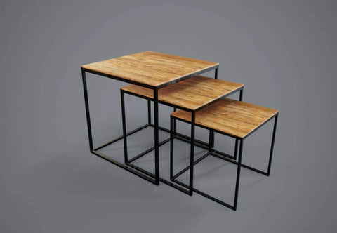 Nest of Side Tables with Metal Frame