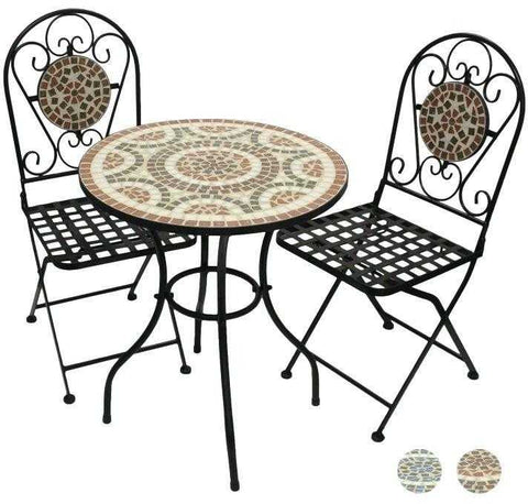 Outdoor mosaic bistro table and 2 chairs