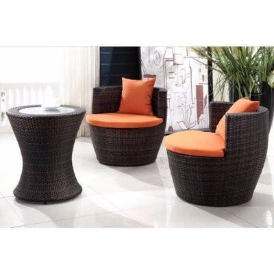 Outsunny 3-Piece Outdoor Stacking Rattan Patio Chair Set