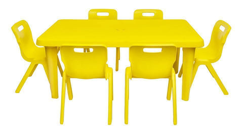 Palace Kiddies Plastic Table +6 Strong S Chairs Set