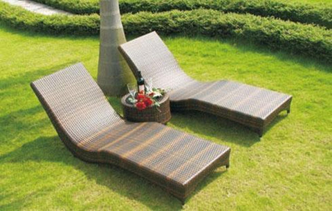 Patio Chaise Lounge Rattan Set