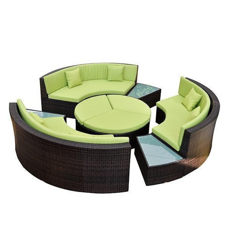 PE Luxury Rattan Garden Circular Sofa and Coffee Table Set