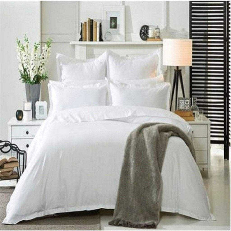 Plain White Bedding Set - 1 Flat sheet and pillowcases