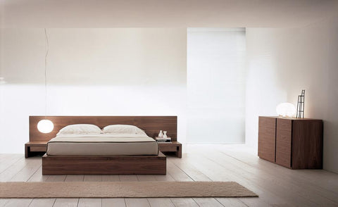 Platform bed frame design with chest of 8 drawers