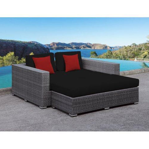 Roslindale 2 Piece Patio Daybed with Cushions - Brown