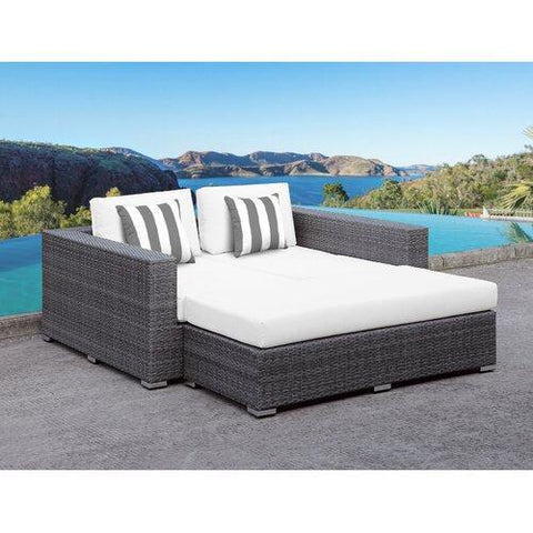 Roslindale 2 Piece Patio Daybed with white Cushions