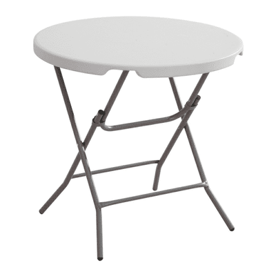Round Plastic Table with Foldable Metal Legs