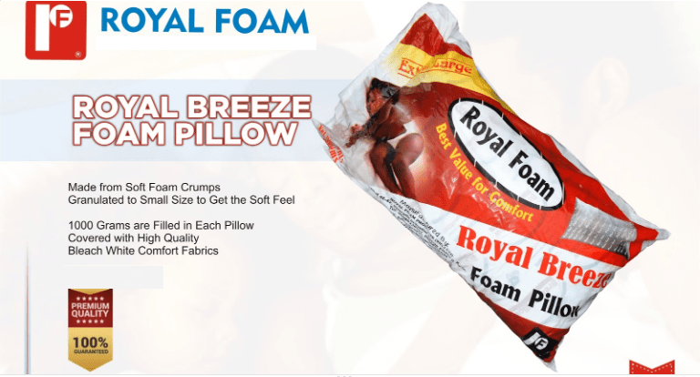 Royal Breeze Foam Firm Pillow - 1000Grms -Plain