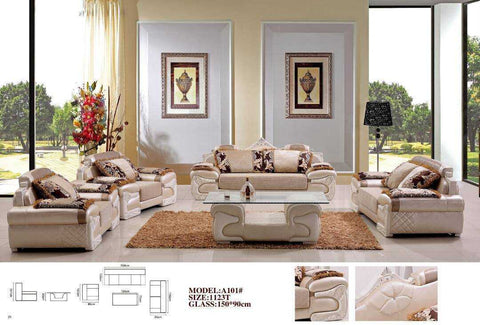 Salotti Leather & Fabric Sofa Set-A101