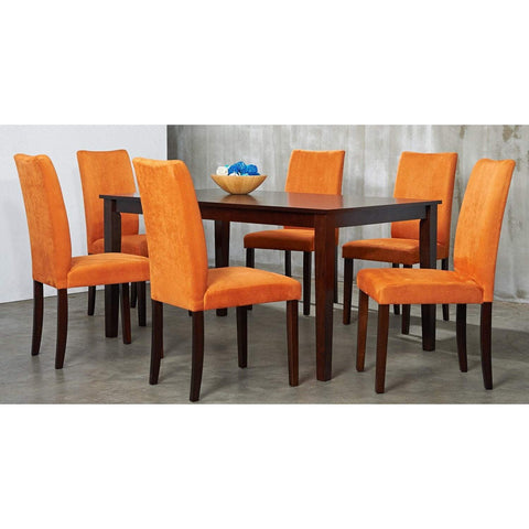 Shino 7-piece Orange Microfiber and Light Cappucino Dining Set