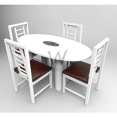 Sika Series; 4 Seater Oval Dining Set - White